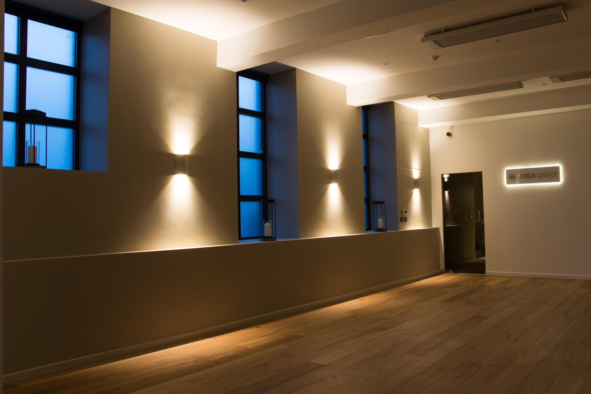 Be Yoga Space hot yoga studio dark