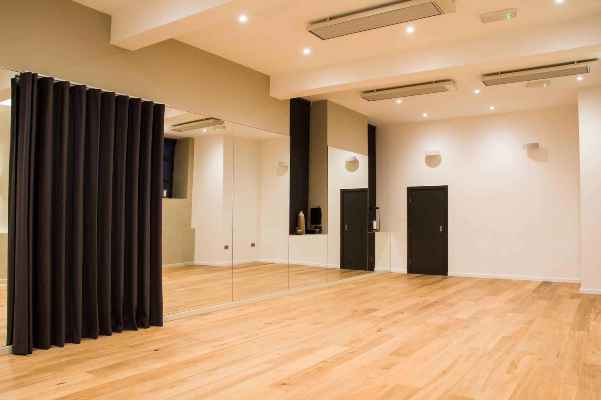 Be Yoga Space studio in lights